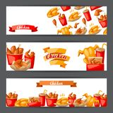 Fast food fried chicken meat. Background with legs, wings and basket Stock Illustration