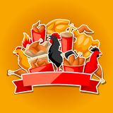 Fast food fried chicken meat. Background with legs, wings and basket Royalty Free Stock Photos