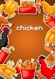 Fast food fried chicken meat. Background with legs, wings and basket Stock Photography