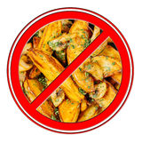 Fast food fried potato banned prohibition sign isolated on white Stock Image