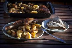 Chicken leg with fried potatoes. Fast food, Fast food, fried potatoes and grilled chicken leg Royalty Free Stock Images