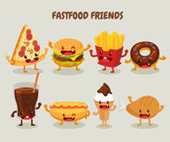 Fast food friends. Set of fast food. Royalty Free Stock Photography