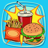 Fast food fries burger drink cola Royalty Free Stock Photos