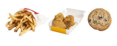 Fast Food - Fries, Chicken Nuggets & Cookie. Fast Food - McDonald's $1 menu, Fries, Chicken Nuggets & Cookie Royalty Free Stock Photos