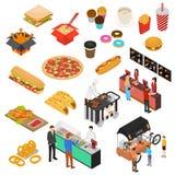 Fast Food fury kawiarni znaka 3d ikony Ustalony Isometric widok wektor ilustracji
