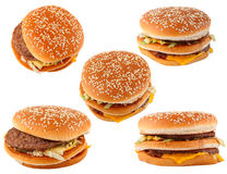 Fast food. Group hamburger isolated on white Royalty Free Stock Photography