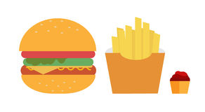 Fast food hamberger fren fire set Royalty Free Stock Photo