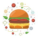 Fast food hamburger cheese tomato lettuce poster Royalty Free Stock Photo