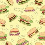 Fast food hamburger doodle set Royalty Free Stock Photos
