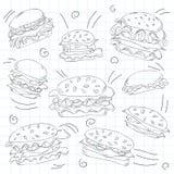 Fast food hamburger doodle set Stock Images