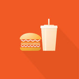Fast Food, Hamburger and Drinks Stock Photo