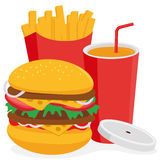 Fast food hamburger, french fries and drink Royalty Free Stock Image