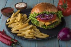 Fast Food, Hamburger, French Fries, Food Stock Image
