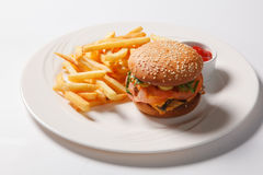 Fast food hamburger and french fries on a white plate Royalty Free Stock Images