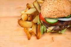 Fast food hamburger and french fries Royalty Free Stock Photo