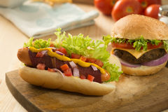 Fast food hamburger, hot dog menu with burger Stock Photography