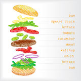 Fast food hamburger ingridients Royalty Free Stock Images