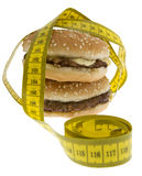 Fast food, Hamburger with measuring tape Stock Images