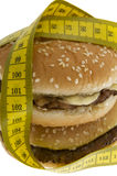 Fast food, Hamburger with measuring tape Stock Photos