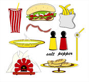 Fast food hamburger sausages french fries and soup. Fast food with hamburger sausages french fries and hot soup Royalty Free Stock Image