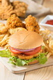 Fast food hamburger with set fried chicken and french fries. Stock Photography