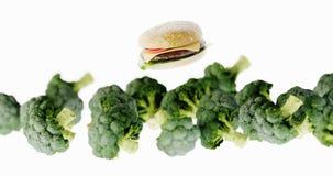 Fast food hamburgers versus healthy vegetables. Ultra realistic 3d rendering. Copy space horizontal background stock illustration