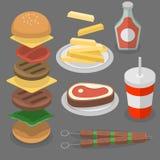 Fast food, hamburguer, cola ilustração do vetor
