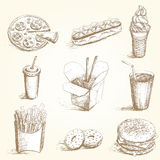 Fast food hand draw set Royalty Free Stock Photography