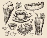 Fast food. hand drawn cup coffee, tea, sandwich, hot dog, soda, lemonade, potato chips, ice cream. sketch vector Stock Photography