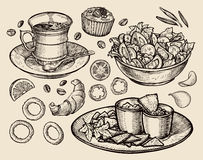 Fast food. hand drawn cup coffee, tea, vegetable salad, nachos, muffin, dessert, croissant, onion rings, tomato. sketch Stock Photos