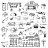 Fast Food hand drawn doodle set Royalty Free Stock Photography