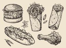 Fast food. Hand drawn hamburger, burger, pizza, sandwich, chicken leg, hot dog, burrito, shawarma, gyros, pita bread Royalty Free Stock Images