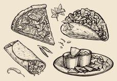 Fast food. Hand drawn pizza, sandwich, tacos, nachos, burrito, shawarma, pita bread. Sketch vector illustration Stock Images