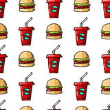 Fast food hand drawn seamless background. Royalty Free Stock Photo
