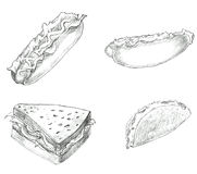 Fast food hand drawn set black and white Royalty Free Stock Photo