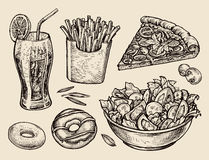 Fast food. hand drawn soda, lemonade, fries, slice of pizza, salad, dessert, donut. sketch vector illustration Royalty Free Stock Photos