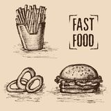 Fast food. Hand drawn style. Set of unhealthy food. Fried with burger and onion rings. Vector illustration Royalty Free Stock Photos