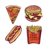 Fast food hand drawn vector illustration isolated on white background. stock illustration