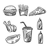 Fast food hand drawn vector illustration isolated on white background. royalty free illustration