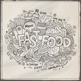Fast food hand lettering and doodles elements Stock Photos