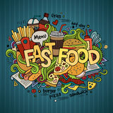 Fast food hand lettering and doodles elements Royalty Free Stock Images