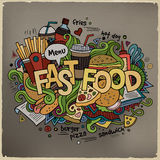Fast food hand lettering and doodles elements Stock Photography
