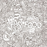 Fast food hand lettering and doodles elements Royalty Free Stock Image