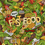 Fast food hand lettering and doodles elements Stock Images