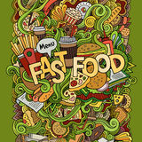 Fast food hand lettering and doodles elements Royalty Free Stock Photo