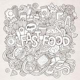 Fast food hand lettering and doodles elements Royalty Free Stock Photos