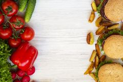 Fast food or health food. Copy space. royalty free stock photo