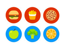 Fast food and healthy food icons Stock Photography
