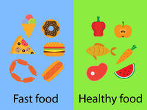 Fast food and healthy food Stock Images