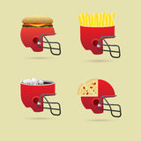 Fast food and helmet Stock Photos